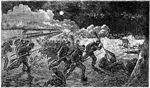 A stylized woodcut of Birney's night attack at Chancellorsville.