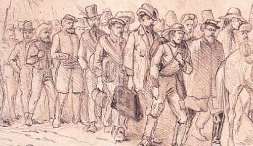 Detail of an Edwin Forbes sketch of Confederates taken prisoner at Chancellorsville. Library of Congress.