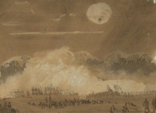...and detail from Alfred Waud sketch of a segment of the Chancellorsville fighting on May 3. Library of Congress.